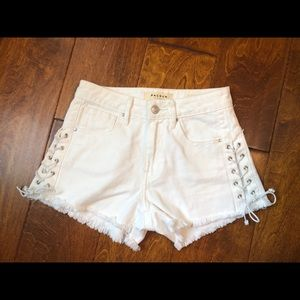 White Pacsun Shorts with Lace Up Sides